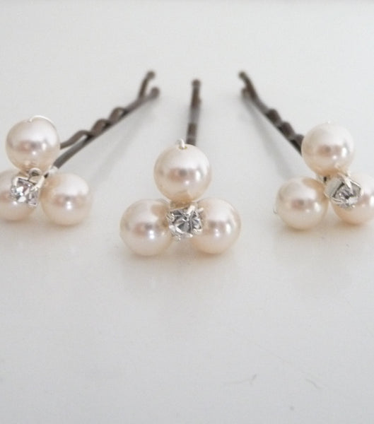 Set Of Three Pearl Hair Grips, Hair Pins and Grips - Katherine Swaine