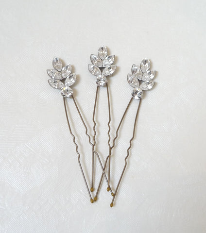 Set Of Three Rhinestone Leaf Hair Pins, Hair Pins and Grips - Katherine Swaine