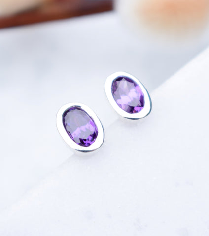 Silver Amethyst Oval Stud Earrings, earrings - Katherine Swaine