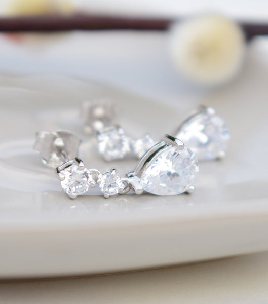 Silver Cubic Zirconia Teardrop Earrings, Katherine Swaine