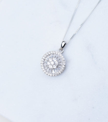 Silver Deco Cluster Pendant Necklace, Necklace - Katherine Swaine