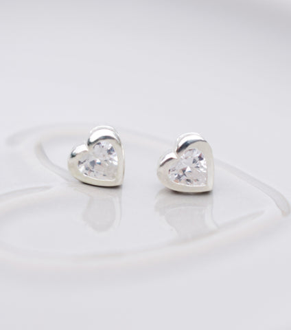 Silver Heart Cubic Zirconia Stud Earrings, earrings - Katherine Swaine