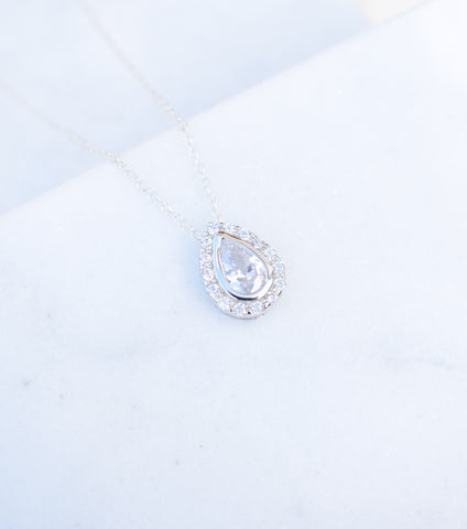 Silver Pear Shaped Pave Illusion Necklace - Katherine Swaine