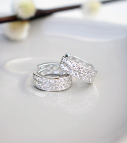Silver Pave Hoop Earrings, earrings - Katherine Swaine