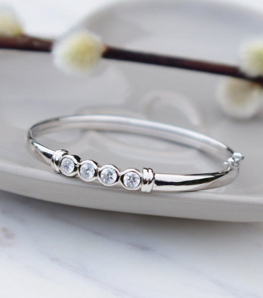 Silver Round Cubic Zirconia Baby Or Child Bangle, Katherine Swaine