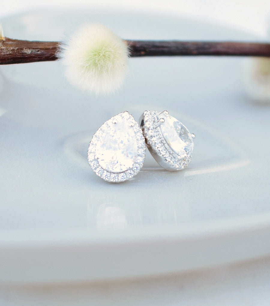 Silver Teardrop Cubic Zirconia Stud Earrings, earrings - Katherine Swaine