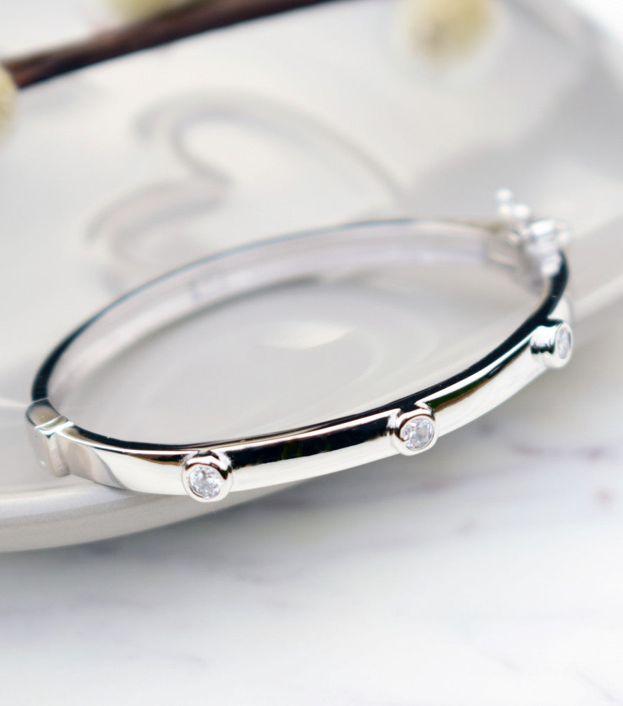 Trio Of Cubic Zirconia Silver Baby Or Child Bangle, Katherine Swaine