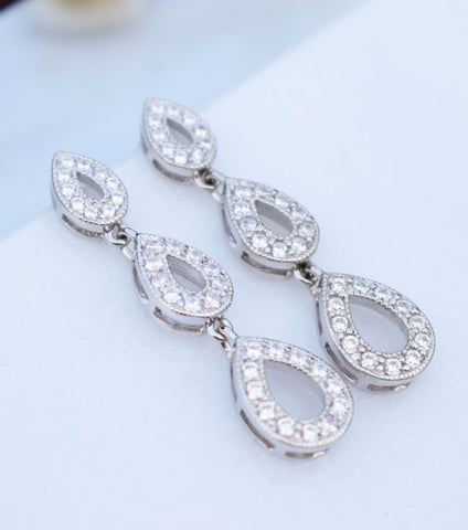 Trio Of Pave Silver Teardrop Earrings, Katherine Swaine