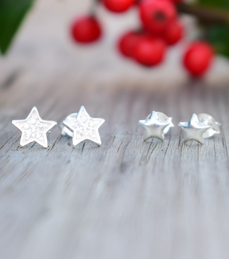 925 Silver Double Star Stud Earring Set, earrings - Katherine Swaine