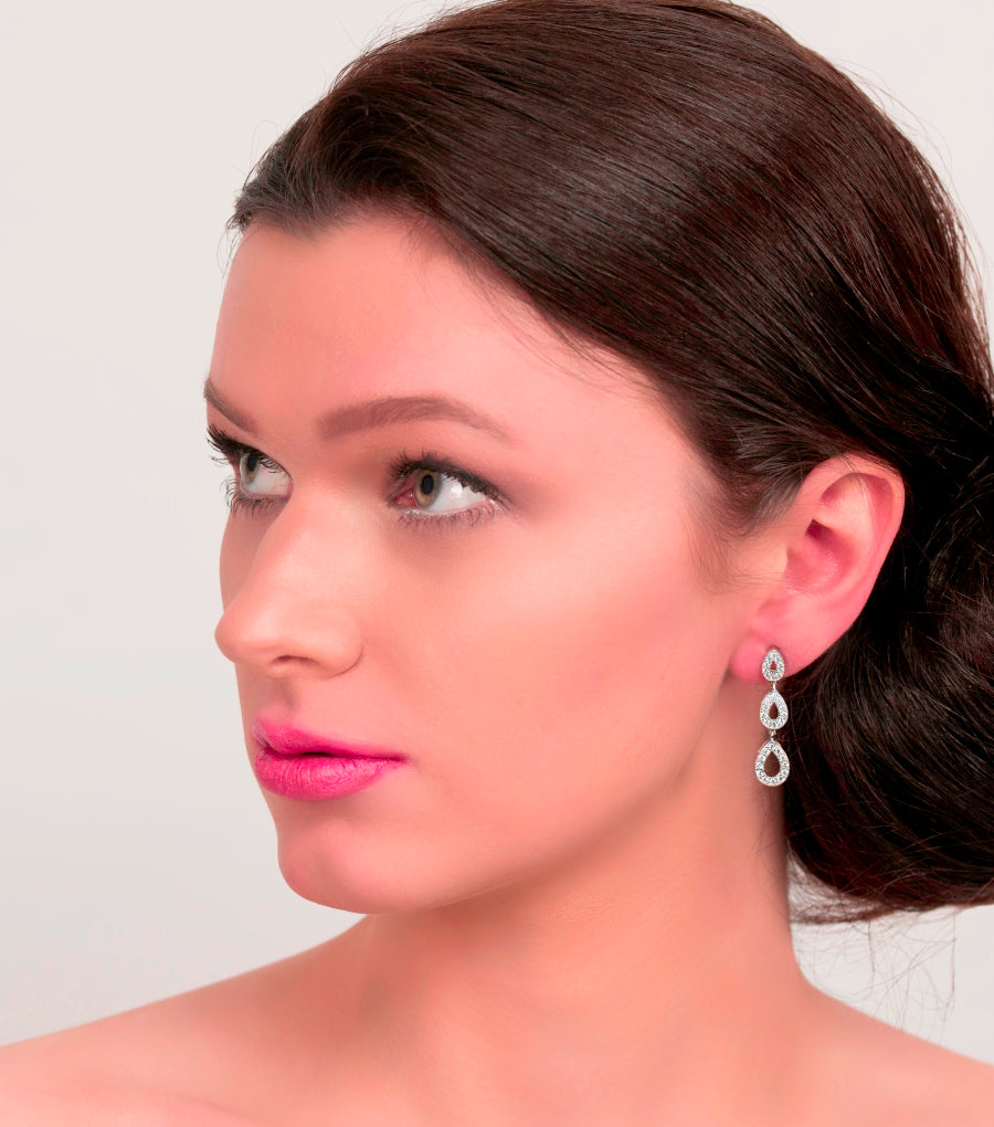 Silver Trio Of Pave Teardrop Earrings, earrings - Katherine Swaine