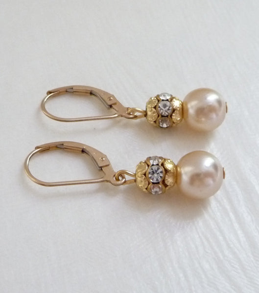 Vintage Gold Leverback Earrings, earrings - Katherine Swaine