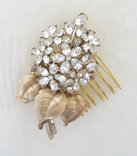 Vintage Gold Trifari Floral Hair Comb, Hair Comb - Katherine Swaine