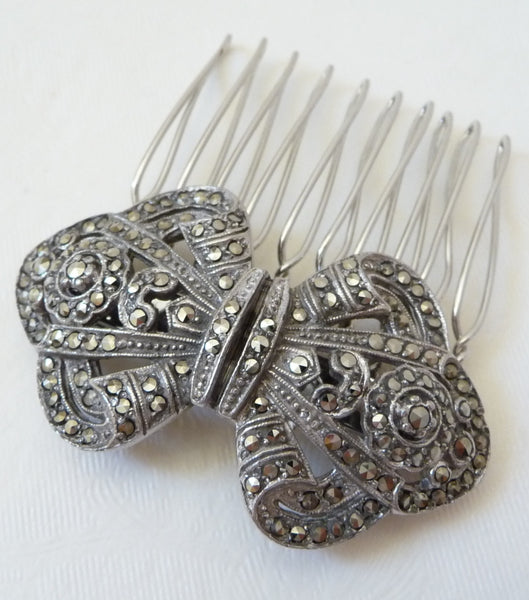 Vintage Marcasite Bow Hair Comb, Hair Comb - Katherine Swaine