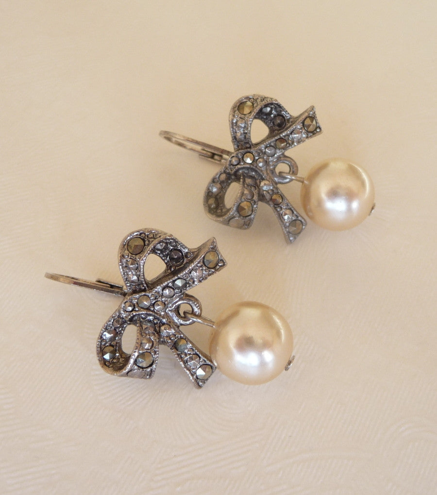 Vintage Marcasite & Pearl Bow Earrings, earrings - Katherine Swaine