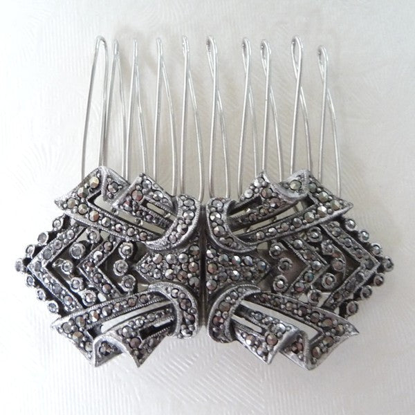 Vintage Art Deco 1930's Marcasite Hair Comb *SOLD*, Hair Comb - Katherine Swaine