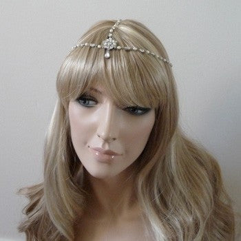 Vintage Inspired Rhinestone and Pearl Forehead Headdress, Headdress - Katherine Swaine