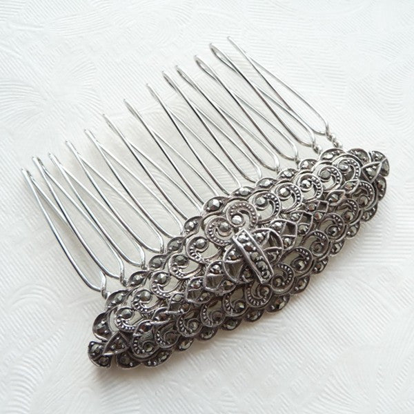 Vintage Ornate Marcasite Hair Comb *SOLD*, Hair Comb - Katherine Swaine