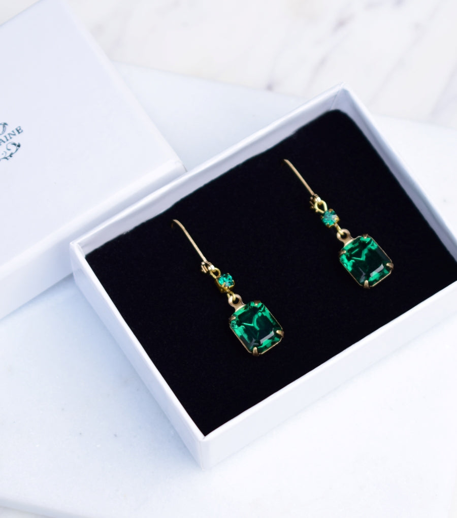 09046f6d5 Vintage Emerald Green And Gold Earrings | May Birthstone – Katherine ...
