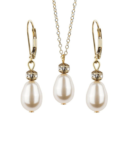 Vintage Inspired Teardrop Earring and Necklace Set, Jewellery Sets - Katherine Swaine