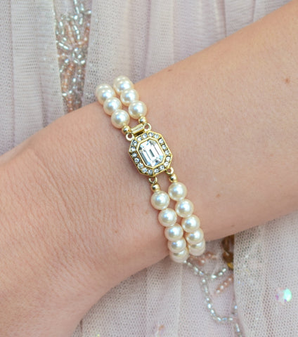 Katherine Swaine, Gold Vintage Inspired 1950's Two String Pearl Bracelet