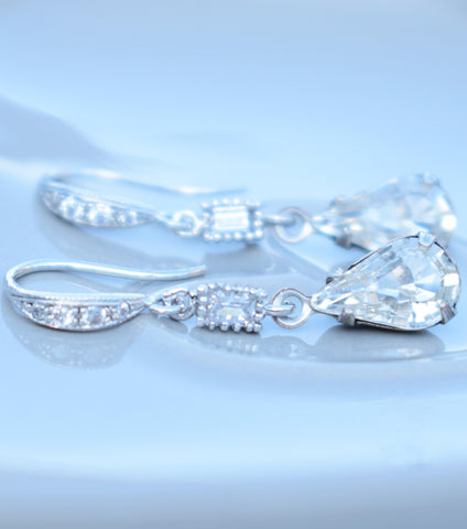 Vintage Style Crystal Drop Earrings, earrings - Katherine Swaine