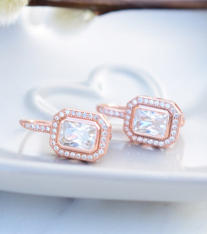 Vintage Style Rose Gold Cubic Zirconia Leverback Earrings, earrings - Katherine Swaine