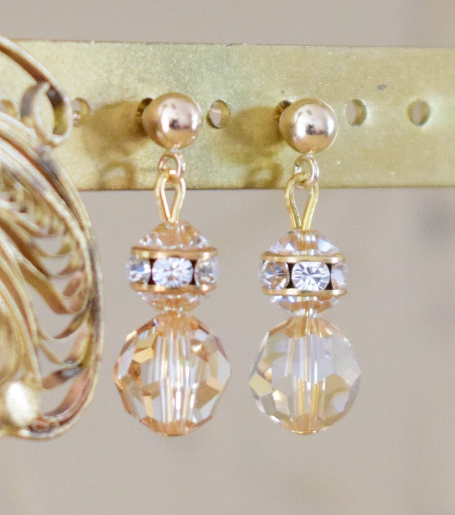 Gold Crystal Drop Earrings, earrings - Katherine Swaine