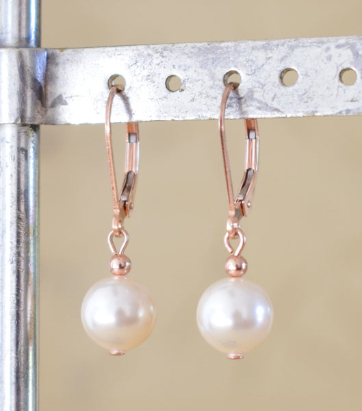Rose Gold Ball Lever Back Earrings, earrings - Katherine Swaine