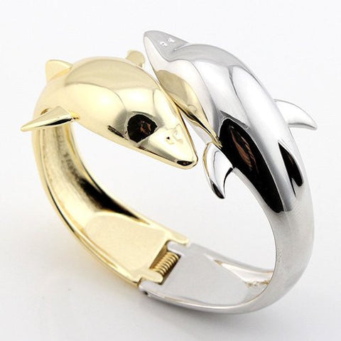 Double Dolphin Silver & Gold Plated Bangle Bracelet