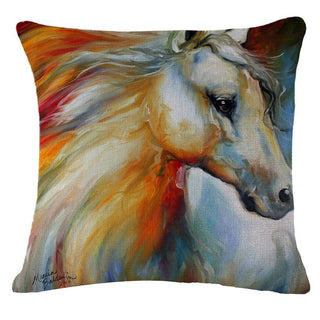 Homeware - Cotton Linen Colorful Horse Print Decorative Pillow Cover