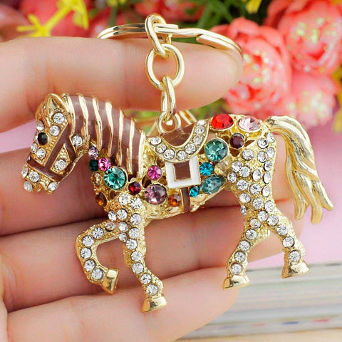Jewelry - 14K Gold Plated Multicolor Rhinestone Horse Keychain