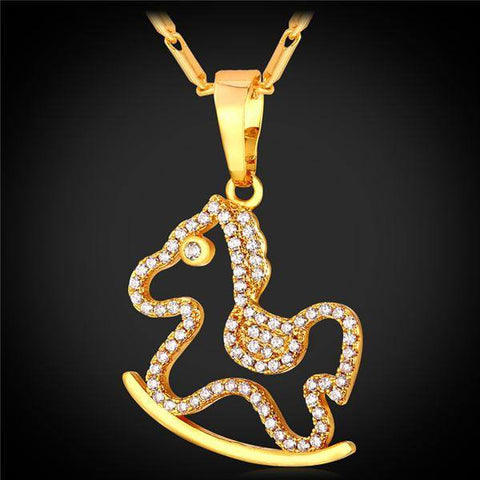 Jewelry - 18K Gold/Platinum Plated AAA Cubic Zirconia Horse Pendant Necklace