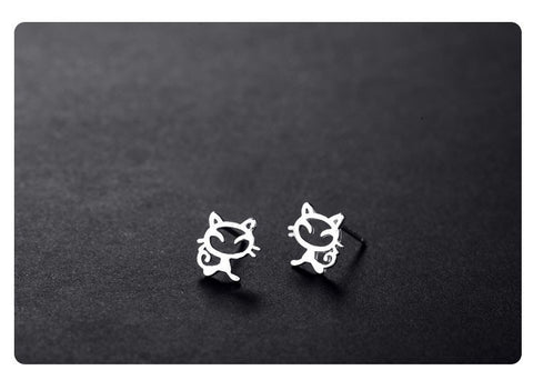 Jewelry - 925 Sterling Silver Cat Stud Earrings