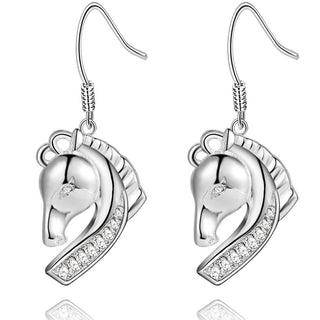 Jewelry - 925 Sterling Silver Plated Horse Drop Earrings