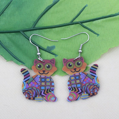 Jewelry - Acrylic Cartoon Cat Drop Earrings