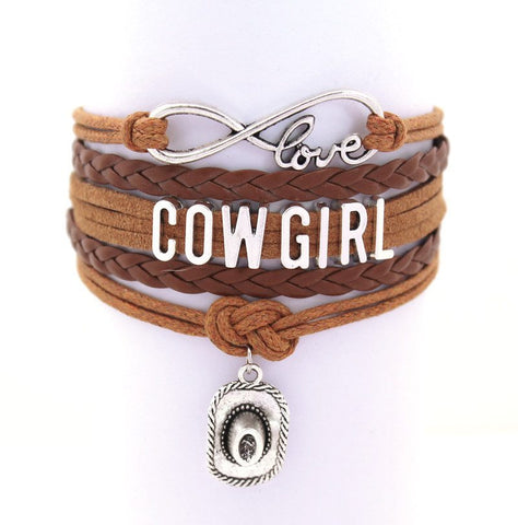 Jewelry - Cowgirl Leather Infinity Charm Bracelet