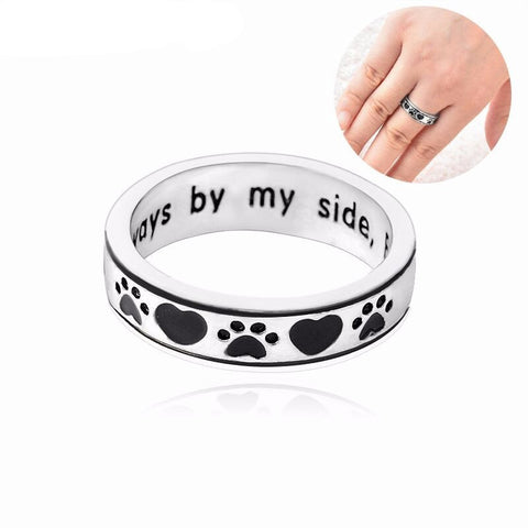 """Always by my side,Forever in my heart"" Dog pawprint wrap ring"