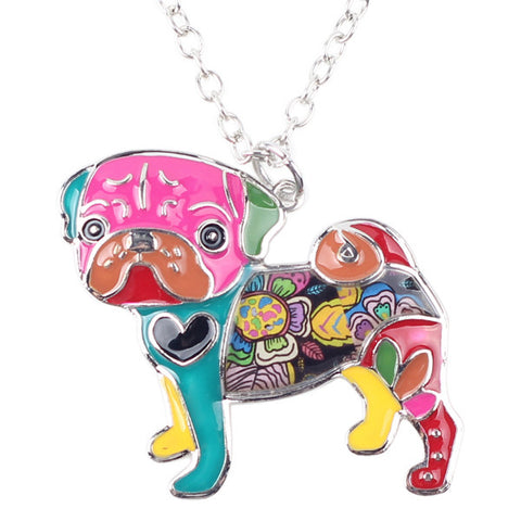 Multicolor enamel pug necklace