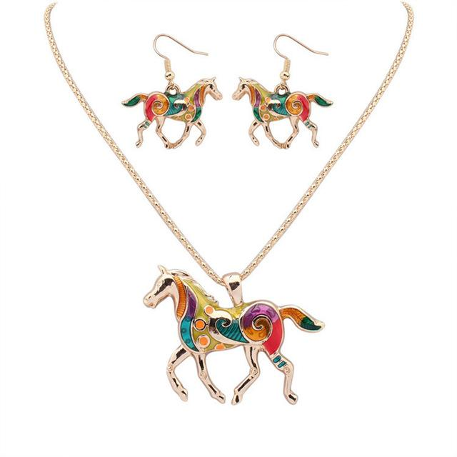 Beautiful Silver/Gold Multicolor Horse Necklace & Earrings Set