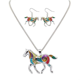 Jewelry - Beautiful Silver/18K Gold Plated Multicolor Horse Necklace And Earrings Set