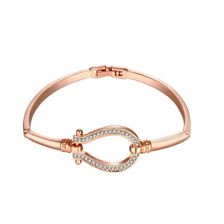 18K Rose Gold Plated Horse Shoe Bangle