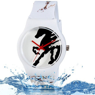 Willis quartz watch Horse Pattern rubber strap watch Water Resistant Wrist Watch