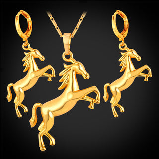 18k Gold Plated Horse  Necklace & Earrings Sets