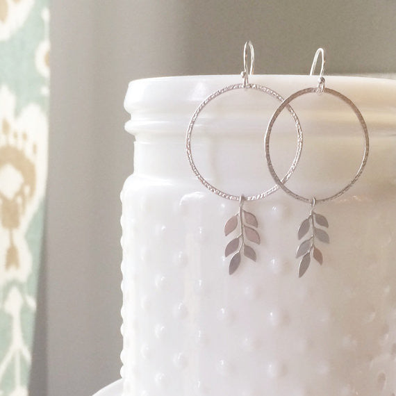 Keri Round Silver Leaf Earrings
