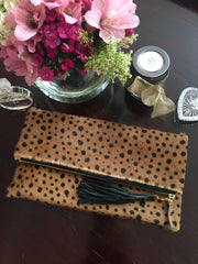 Leopard Print Fold Over Clutch