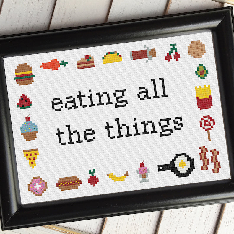 Eating All The Things Freebie Cross Stitch Pattern