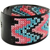 Faux Leather Bracelet Punched For Cross Stitch - Black