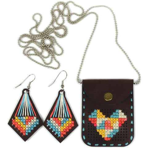 Cross Stitch Style-Faux Leather Pouch With Chain Punched For Cross Stitch Kit