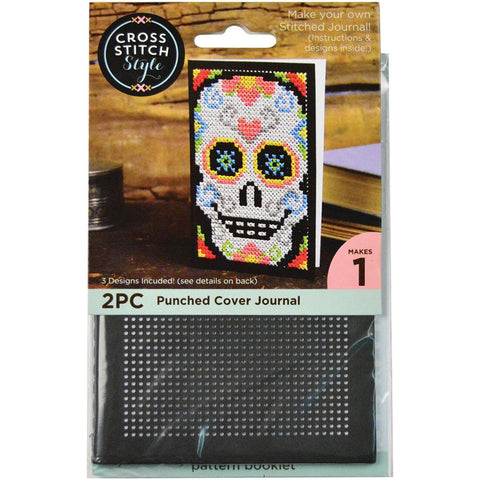 Journal Cover Punched For Cross Stitch - Black
