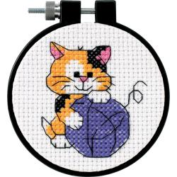 "Dimensions Counted Cross Stitch Kit 3"" Cute Kitty (11 Count)"